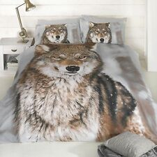 IMPRESSION LOUP DESIGN GRANDE TAILLE HOUSSE DE COUETTE NEUF KING SIZE ANIMAL