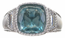 Judith Ripka 5.40 Ct tw Fluorite & Clear Diamonique Sterling Silver Ring Size 7