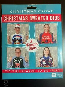 CHRISTMAS SWEATER BIBS 8 PACK PLASTIC NIP HOLIDAY BIBS BY Talking Tables SILLY!