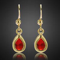 Neu Modeschmuck Geschenk Edelstein Gold Vergoldet Rot Rubin Birne Ohrringe