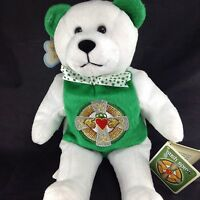 "Holy Bear Irish Spirit Plush Claddaugh Clover 9"" 23cm White Green Gold Embroider"