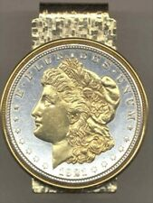 U.S. Morgan Silver Dollar Hinged Money Clip 2-Toned Gold on Silver 63MC