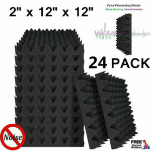 24 Acoustic Wall Panel Tiles Studio Sound Proofing Insulation Foam Black Pads
