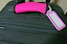 LUGGAGE TAG HANDLE GRIP, HOT PINK , NEOPRENE HANDLE WRAP, MATCHING  HANG TAG