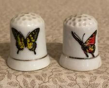 Vintage Lot of 2 Butterfly Thimbles Porcelain Bone China Gold Rims