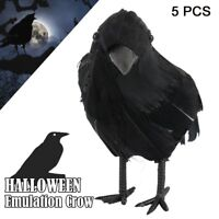 BLACK CROW REALISTIC BIRD HALLOWEEN PROP FURRY ANIMAL ck145 FREE SHIPPING USA