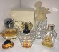 Lot 5 Perfume Bottles Givenchy L'interdit Burberry Tresor L'air Du Temps A Klein