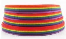 """1 M cinta de grogrén con Orgullo Arco Iris 3/8"""" 9 mm Cinta De Cabello Moño Tablero De Torta De Ropa"""