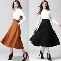 Women's Warm Autumn Casual Long A Line Skirt Belts Winter Swing Elegant Dress