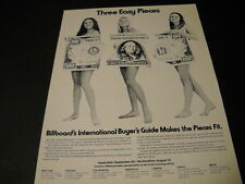 THREE EASY PIECES 1972 Promo Poster Ad 3 naked girls covered by only a $100 Bill