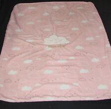 Just Born Feeling Dreamy Pink Baby Blanket 30x40 Clouds Faux Sherpa Back Fleece