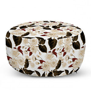 Ambesonne Ornate Floral Ottoman Pouf Decor Soft Foot Rest & Removable Cover