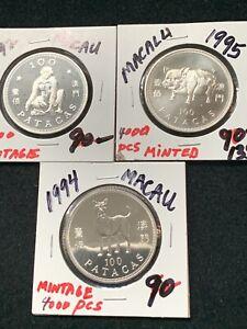 3 PC LOT MACAU GEM CROWN COINS; 1992 YR MONKEY, 1994 YR  DOG, 1995 YR PIG