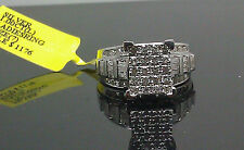 White Gold Finish Ladies 1.00CT Diamond Ring With Round, Princess Cut & Baguette