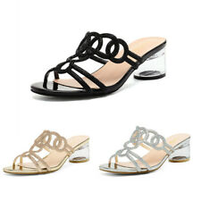 DREAM PAIRS Women's Low block Heel Sandals Open Toe Slip On Summer Sandals