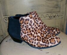BASS NINA CALF HAIR FUR LEOPARD ANKLE BOOTS LADIES 5 M BLACK SUEDE ANIMAL PRINT