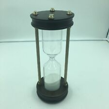 """30 Minute Nautical Sand Timer Wood Base, Brass Rods Sand Timer, Hour Glass, 11"""""""