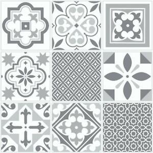 Floor Tiles Self Adhesive Grey Moroccan Vinyl Flooring Kitchen Bathroom 1m²