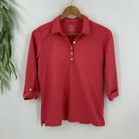 L.L LL Bean Womens Polo Shirt Size M Pink Supima Cotton Top Roll Tab Sleeves