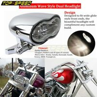 Motorcycle Aluminum Wave Dual Headlight Universal For Harley Suzuki Yamaha Honda
