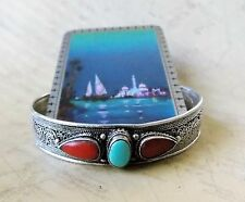 *Vintage 1980s Hand Crafted Tibetan Silver, Coral & Turquoise Women's Bangle
