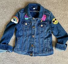 Gap Kids Girls Med 7/8 Dark Wash Jean Jacket with Patches Soft Stretch Denim