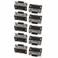 10Pcs DB 15 Pin 3 Row Female D-SUB VGA Connector PCB Mounting Right Angle