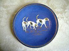 """RARE WEDGWOOD POWDER BLUE LUSTRE PORCELAIN ROUND 9"""" DISH FOX HOUNDS CIRCA 1912"""