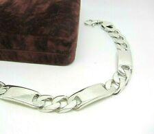 925 Sterling Silver Hallmarked Solid Curb Bar ID Link Bracelet 10mm 24cm 49g