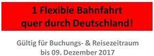 Gutschein für 1 Fahrt mit der Deutschen Bahn DB bis 09.12.2017
