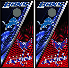 Detroit Lions & Washington 0121 Custom Cornhole board game decal wraps bean bag