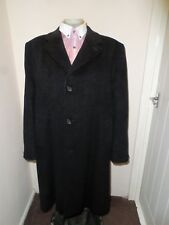 Mens Dunn Co England 42 Grey Wool Cashmere Crombie Overcoat Coat Long Jacket
