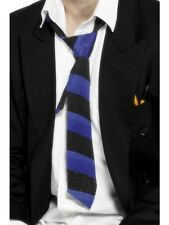 Schoolboy Tie Blue & Black Striped Schoolgirl Tie - Mens Fancy Dress