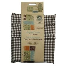 1pc BROWN CHECKERED CRIB FITTED SHEET - Plaid Organic Cotton Woodland Bedding