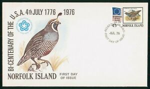 Mayfairstamps Norfolk Island FDC 1976 American Flag Quail First Day Cover wwo_51