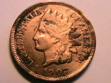 1907 Very Fine Indian Head Cent VF One Small Penny US Coin