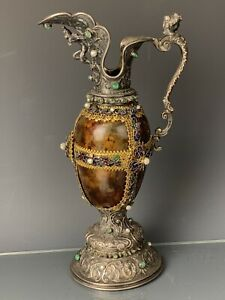 19TH C. VIENNESE ENAMEL SILVER PITCHER INSET WITH EMERALDS AND PEARLS