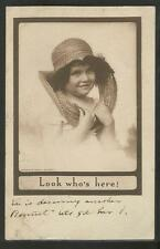 Vintage Postcard- Darling Little Girl w/torn bonnet - Sepia Photo 1910, Posted