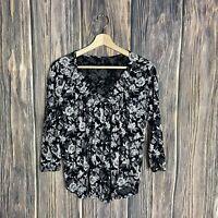Lucky Brand Top Small Floral Women 3/4 Sleeve V-neck Print Black White Gray Boho