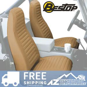Bestop Seat Covers Pair High Back Bucket 76-91 Jeep CJ5 CJ7 Wrangler YJ Tan