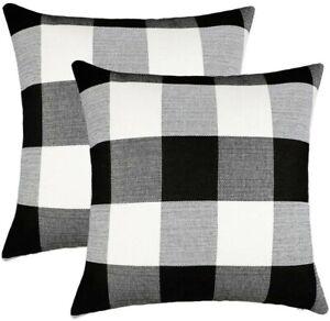 Set of 2 Farmhouse Buffalo Check Plaid Throw Pillow Covers Cushion Case Cotton