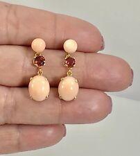 Angel Skin Coral (9.5ctw) & Garnet 14k Yellow Gold Dangle/Drop Earrings, New
