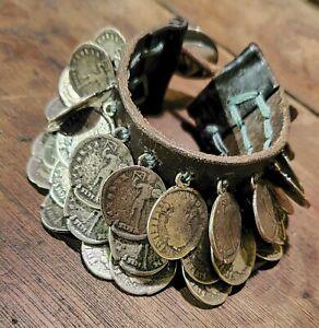 'Uno De 50' Leather/Silver Coin Charm/Statement Bracelet-Punk Gothic Boho- CLEAN