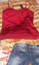 New WHITE HOUSE BLACK MARKET Red Camisole Top Blouse  Lace Tank V Neck size L