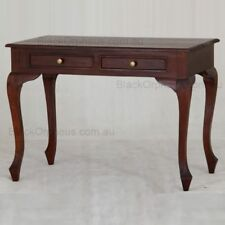 Small Timber Table Writing Desk, Mahogany Desk with Drawers