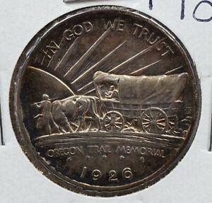 1926 S Oregon Trail Commemorative Silver US Half Dollar CH AU ABOUT UNC Toned
