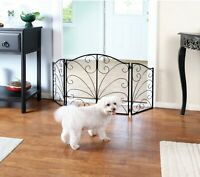 """Metal Pet Gate Arched Scroll Tri Fold Dog Fence Safety Barrier 3 Panel 24"""" - 48"""""""