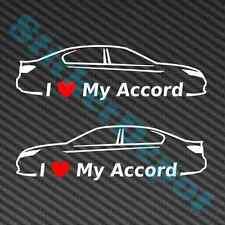 "2 I HEART MY ACCORD DECALS SIZE 7""x2"" LOVE HONDA SPORT SEDAN 2013 2014"