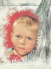 50s vintage print Boy looking out Frosty Christmas Window