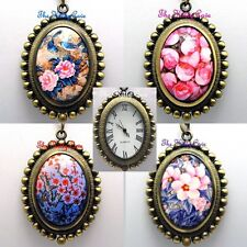 Retro Boho Vintage Deco Arty Ladies Girls Brass Steampunk Pendant Necklace Watch